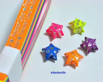 "Pack of 200 Strips Mini Size Luminous Hot-Stamping Lucky Stars Origami Paper Kits. ""Forever Love"" 24.5cm x 1.0cm. #HS104. (HS paper series)."