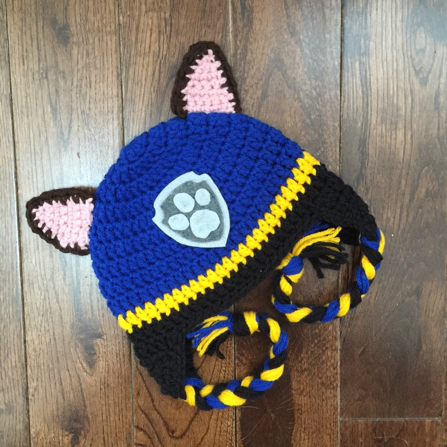 Crochet Hat Pattern Paw Patrol : Chase Paw Patrol Crochet Character Hats Dog Hat Made to