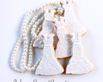 Half Dz. Wedding Dress Cookies! Bridal showers, gifts, favors and more!