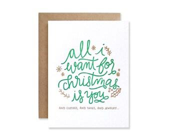 Christmas Letterpress Card - Holiday Greeting Card - Blank Christmas Card
