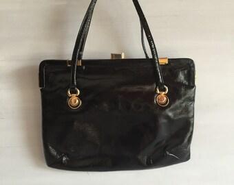 vintage Black bag ,'70 ,woman fashion bag, black  small bag,  mad man fashion