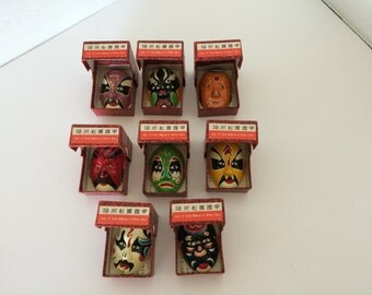 Miniature Chinese Opera Mask Collection ~ Hand Painted Clay - Quantity 8