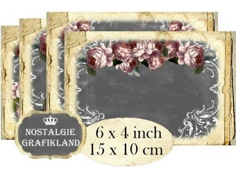 Rose Chalkboard 6 x 4 inch Instant Download digital collage sheet D176 Vintage Grey Roses