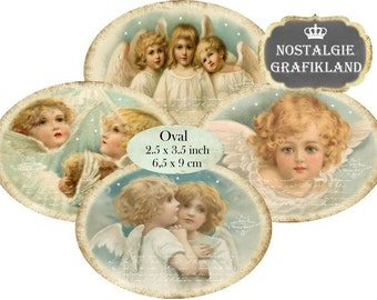 Angels Cherubs Christmas Anges Noel 3.5 x 2.5 inch Instant Download digital collage sheet O105