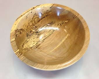 Spalted Pecan Wood Bowl Hand Turned Satin Lacquer Decorative