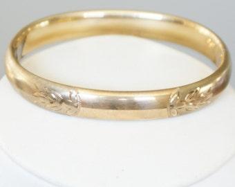 c1960s Vintage 12k Gold Filled Bangle Bracelet Vintage Hallmarks