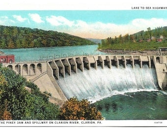 Vintage Linen Postcard - Piney Dam and Spillway on Clarion River, Clarion, Pennsylvania (1735)