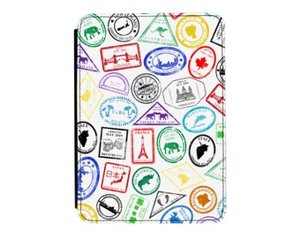 Passport Stamps Kindle Paperwhite / Touch 2012 2013 2014 2015 2016 (All Models) PU Leather Flip Case Cover