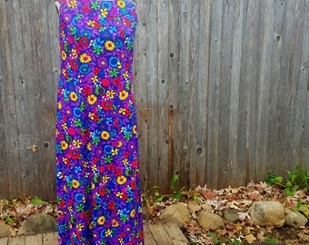 Ti'a Vintage 60s Hawaiian Dress Authentic Vibrant Long Maxi Purple with Flowers XL