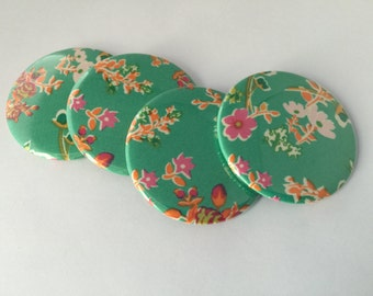 Green Floral Fabric Magnet Set