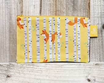 Fun Foxes Yellow Pencil Case Fabric Make up Bag Zippered Pouch Handmade Large Childs Pencil Case Back to School