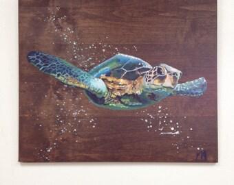 """Hand painted Sea Turtle On Reclaimed Wood Panel """"Sea-Onardo"""""""