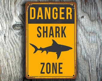 SHARK ZONE SIGN, Shark Zone Signs, Bar Signs, Vintage style Shark Zone Sign, Shark Signs, Shark Decor, Man Cave Decor, Danger Shark Zone