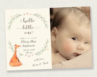 Birth Announcement Photo Card - Baby Announcement Card - Welcome baby -  Cute Fox