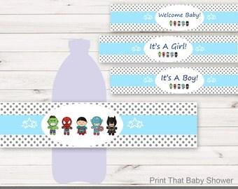 Baby Shower Water Bottle Labels - Superhero Baby Shower Decorations - Printable Water Bottle Labels - Superhero Water Bottle - Super Hero
