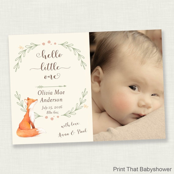 Birth Announcement Photo Card Baby Announcement Card Welcome – Birth Announcement Card