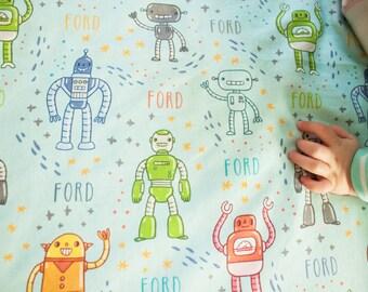 READY TO SHIP Robot Organic Blanket / Baby Boy Blanket / Swaddle Blanket / Toddler Blanket – Robot Blanket