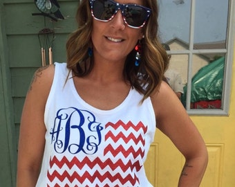 Bling Monogram - American Flag - Fourth of July Shirt - Fourth of July Tank- 4th of July Tank - Patriotic Shirt - Custom Monogram Shirt tank