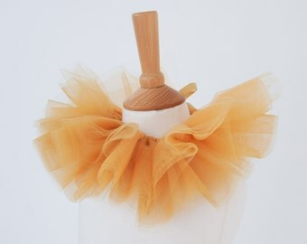Tulle Lion Collar | Circus Lion Collar | Beige Gold Brown Tulle Neck Ruff | Animal Dress Up | Jungle Fancy Dress | Carnival of the Animals