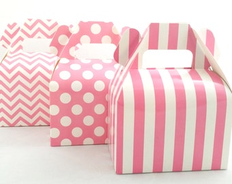 Gable Boxes (Set of 12) Chevron Polka Dot Stripes Gable Boxes, Baby Shower Boxes, Birthday Box, Gold & Pink Favor Box