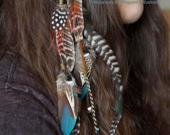 "Hair Headband Jewelry feathers ""Chahira"""
