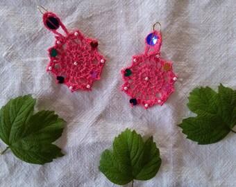 Crochet Earrings / Bright Pink /