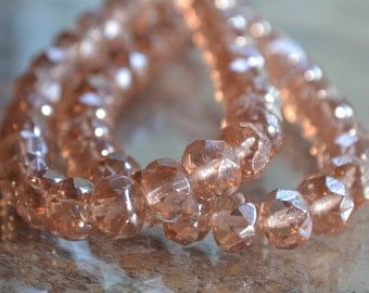 10 Peach Luster Czech Glass Faceted Rondelle Beads 8x6mm- Chiffon (667-10)