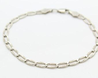 """Vintage 7.5"""" Textured Fancy-Link Bracelet in Sterling Silver. [8408]"""