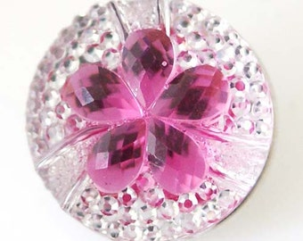 NEW! KB8222 Sparkly Faceted Purple Crystals Set on Small Clear Crystals Snap Charm