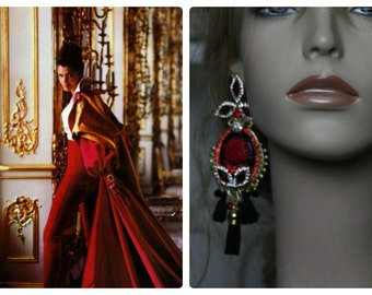 Baroque Rose Cameo Black Red Crystal  Massive Studs Tassel Earrings