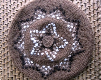 Alpaca Hand Knitted Beret Size M