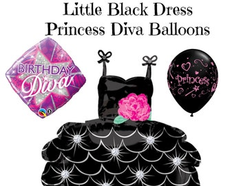 Little Black Dress Diva Princess Balloons Birthday Party Girls Night Out Fancy Party Balloons