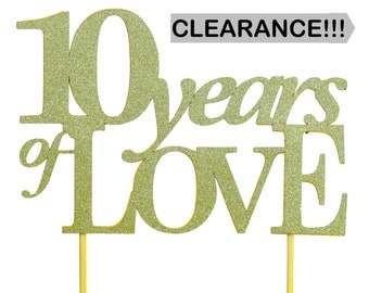 Light Gold 10-years-of-love Cake Topper, 1pc
