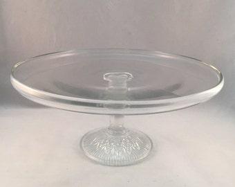 Vintage Glass Cake Plate With Pedestal Base, Dessert/Cake Plate