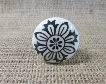 Black and white drawer knobs. Ceramic drawer knobs.