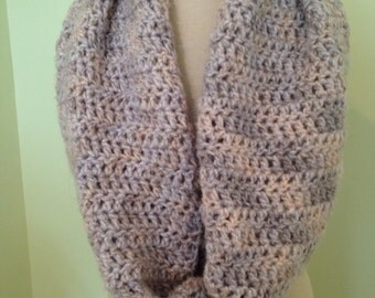 Crocheted Snood in Shades of Light Pink and Gray