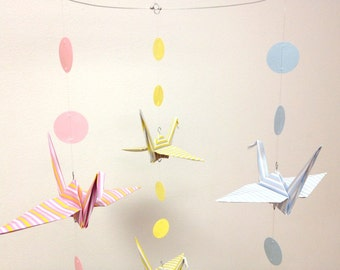 Origami Crane Mobile, Pink Blue Yellow, New Baby Mobile, Bird Mobile, Mobile for Babies, Nursery Decor, Good Luck Cranes, Baby Shower Gift