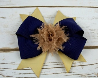Large Navy Blue and kaki school uniform Hair Bow - Girls - back to school-Gift - Birthday - Party - Accessories - Alligator Clip