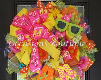 Summer Flip Flop Wreath, Summer Wreath, Door Hanger, Flip Flop Wreath, Wreath for Door, Made to Order