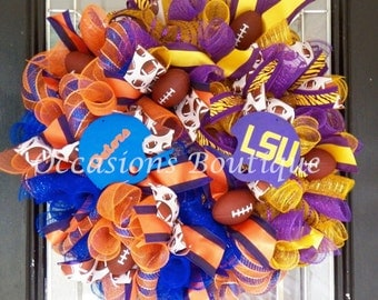 House Divided Football Wreath, Football Wreaths, Football Party Decoration, Team Wreaths, Wreath for Door, Front door wreaths, Gift