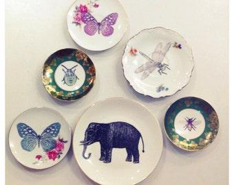 Decoratief wandbordje met libelle, olifant, vlinder of kever