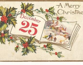 "Beautiful Vintage 1911  ""A Merry Christmas "" Postcard"