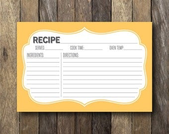 Printable Yellow Recipe Card - Instant Download Recipe Card - Printable 4x6 Recipe