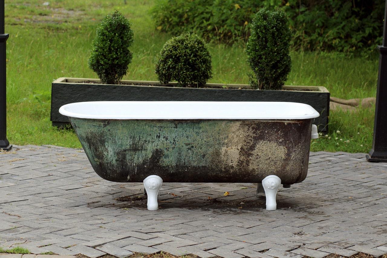 Antique Refinished 5' Clawfoot Bathtub Green Blue Original