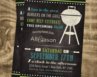 Baby Boy Shower Invitation, Co-ed Baby Shower,  BBQ Baby Shower, Chalkboard, Custom, Printable, Grill, Cookout, Casual, Summer, Barbe Que
