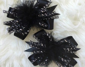 Sparkly Black Hairbow Pigtail Set- Girl Hairbows