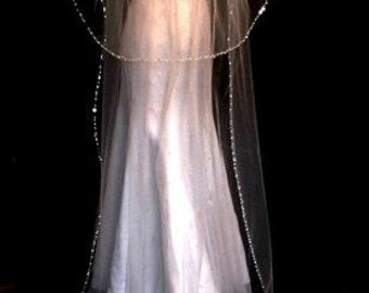 cathedral wedding veil, wedding veil and blusher, beaded wedding veil with blusher, cathedral veil, beaded edge veil - FREE BLUSHER