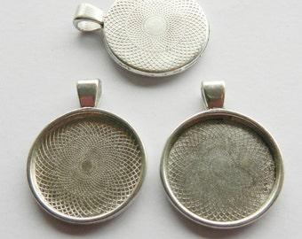 3 x Antique Silver Round Bezel Cabachon Setting Pendants 35mm DIY