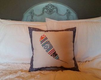 Feather Applique Throw Pillow