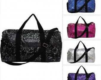 2 Tone Sequin Cheer Dance Yoga Girly Duffle Bag WITH FREE MONOGRAM